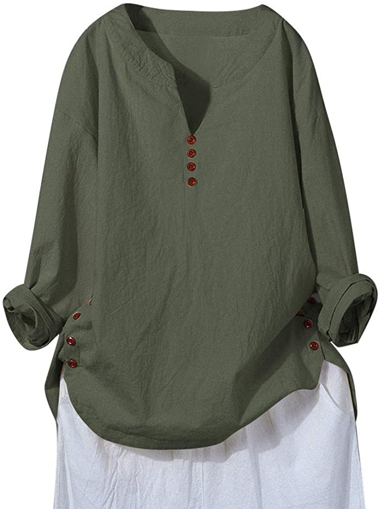 Plus Size Tops for Women Long Sleeve V Neck Cotton Linen Solid Casual Loose Button Basic Long Tunic T-Shirts Blouses