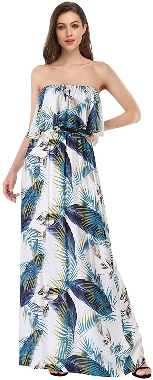 GlorySunshine Women's Off Shoulder Ruffle Strapless Printed Foral Boho Summer Beach Maxi Long Dress
