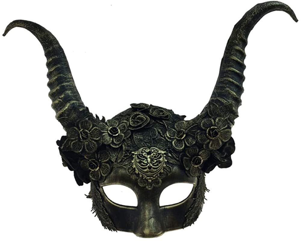 Gold Horned Halloween Fancy Half Mask Adult Horns Mystical Creature Animall