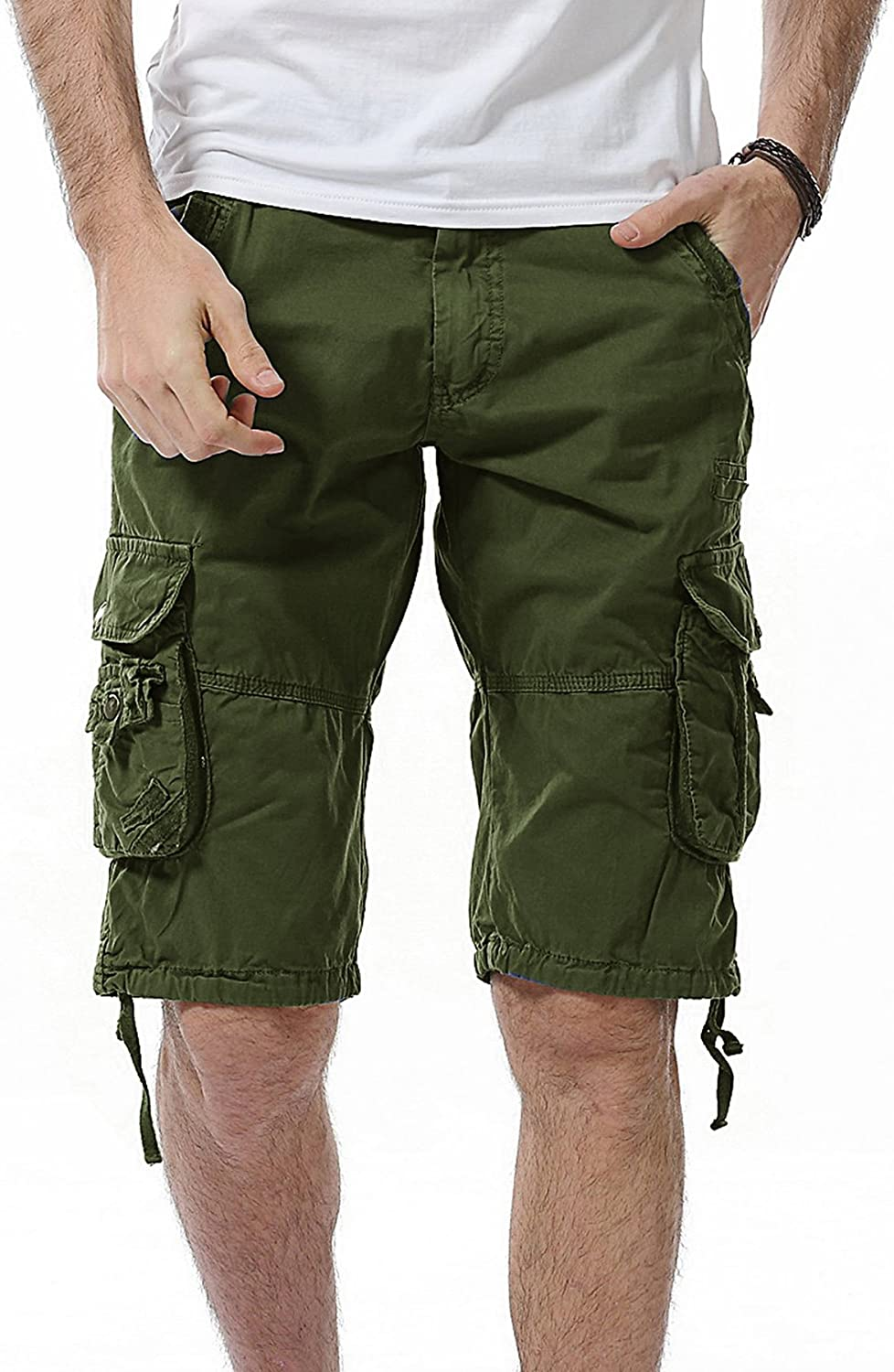 DONGD Mens Cargo Shorts Cotton Slim Fit Outdoor Camouflage Cargo Shorts