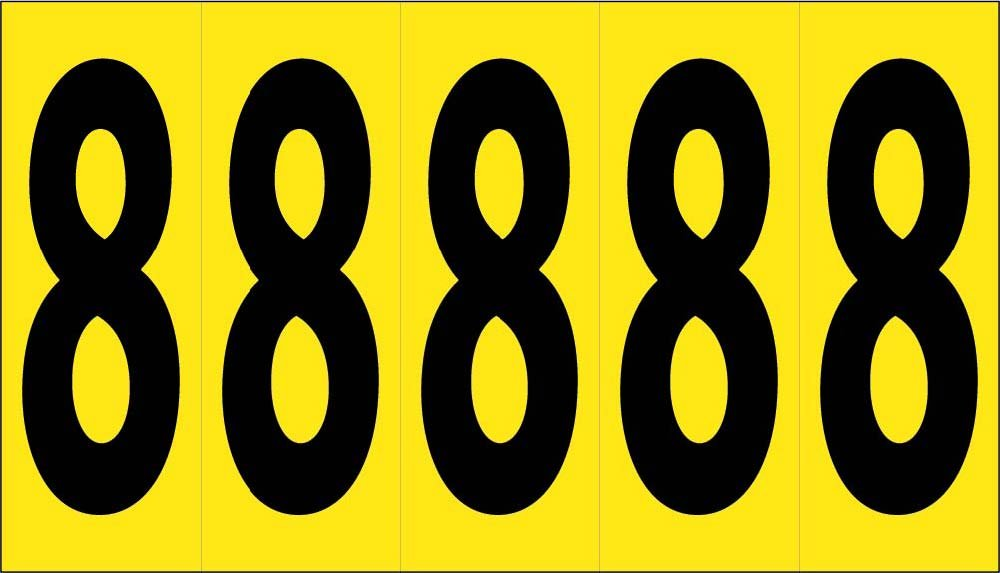 National Marker Corp. NPS78 Number Card, 4 Inch 8 (5 Numbers/Card), PS Cloth