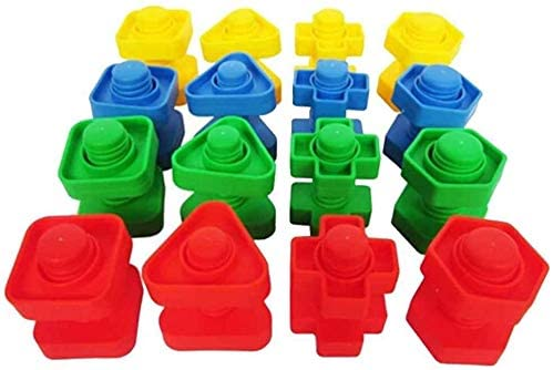 Aoyo 16 Pairs Screws Plastic Block Insert Nut Match Figure Children Kid Operation Toy Puzzle Toy Scale Model (Color Shows, Size Shows)