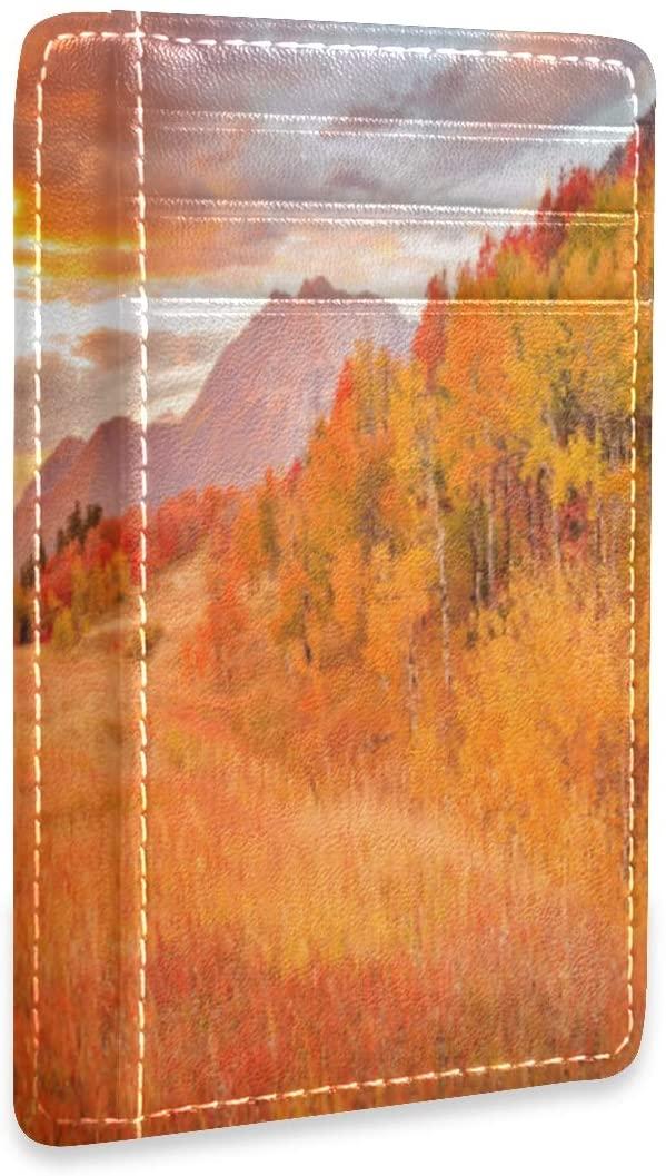 Fall Forest Tree Autumn Slim Minimalist RFID Leather Wallets Front Pocket Credit Card Holder Men