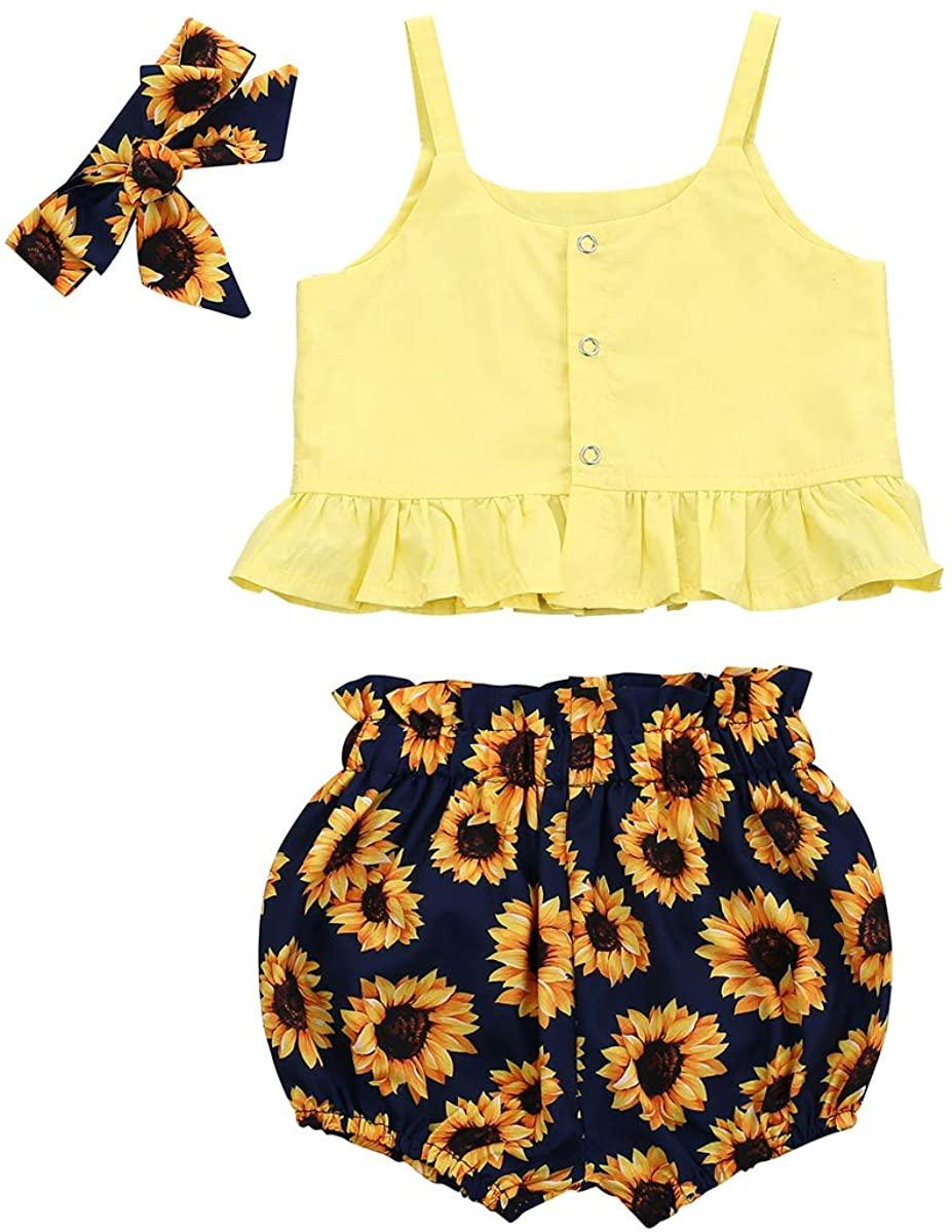 JESS Toddler Baby Girls Outfits Vest Tank Tops Dinosaur Printed Short Pants 2 Pcs