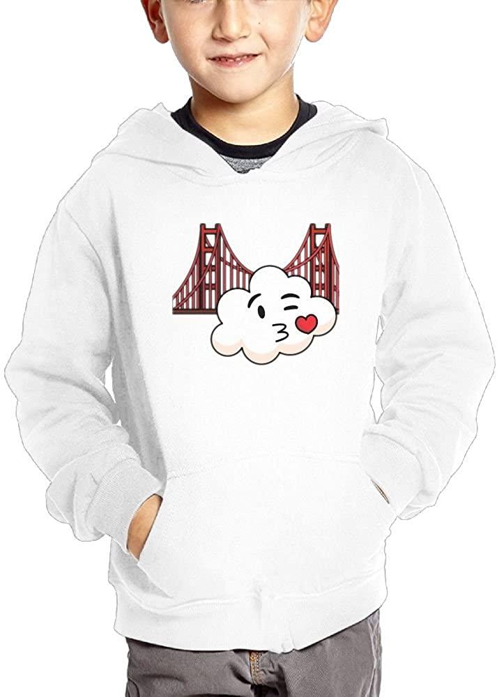 JasonMade Golden Gate Bridge Sweet Cloud Kiss Kids Fashion Popular Hooded Hoodies With Pocket