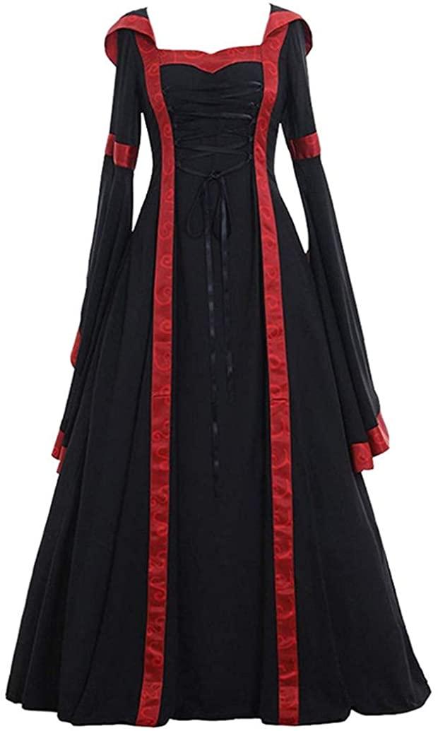 2019 Women's Vintage Dresses Medieval Renaissance Retro Gown Maxi Dresses Long Sleeve Cosplay Costume Dress Minisoya