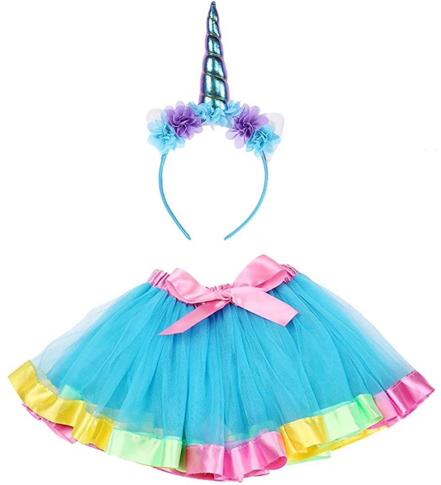 Maticr Kids Rainbow Tulle Tutu Bow Tie Skirt & Unicorn Flower Headband Girls Costume Kit