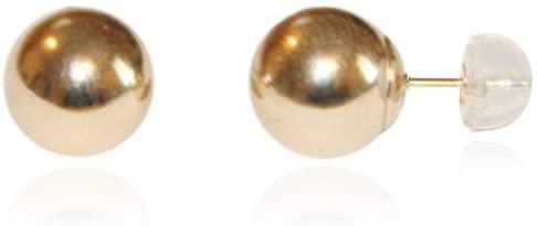 14K Gold Polished 9mm Ball Post Earrings