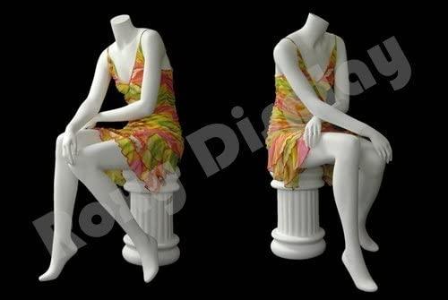 (MD-A7BW2-S) ROXYDISPLAY™ Headless Female Mannequin Matte White Fiber Glass Sitting pose