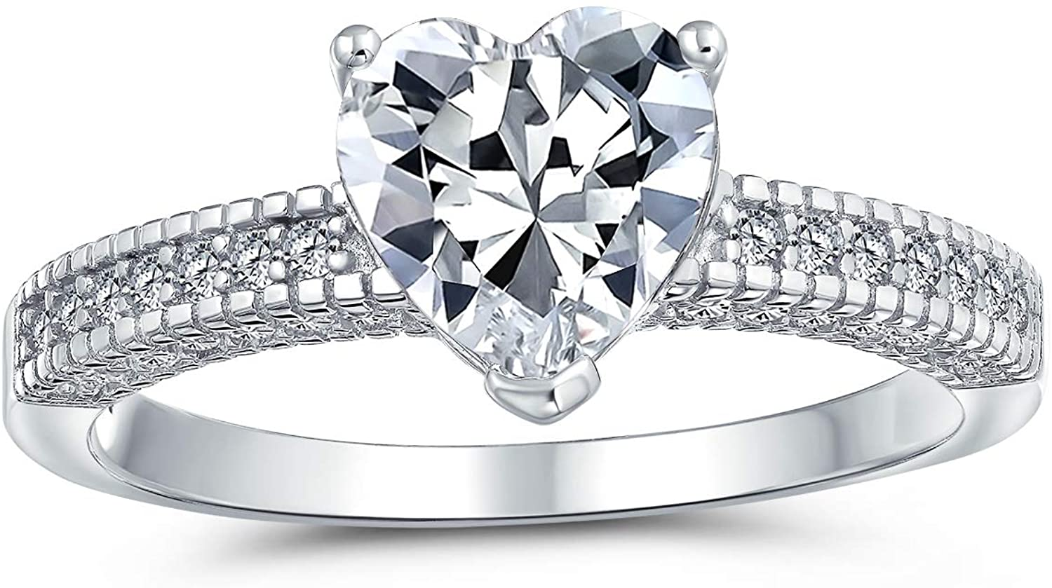 2CT AAA CZ Solitaire Heart Shaped Engagement Ring Pave Band Promise Ring 925 Sterling Silver For Women