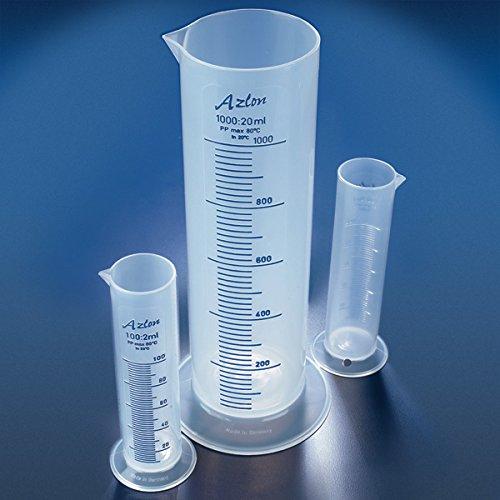 Globe Scientific CPS1000P Class B Squat Form Polypropylene Cylinder, 1000 Ml, Printed Graduations, 1000Milliliters, Degree C, Polypropylene, Clear (