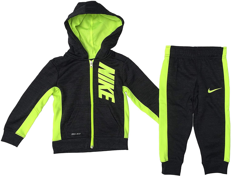 Nike Boy`s 2 Piece Therma-FIT Zip Hoodies & Pants Set (Black Heather(76D696-K3U)/Volt, 2T)