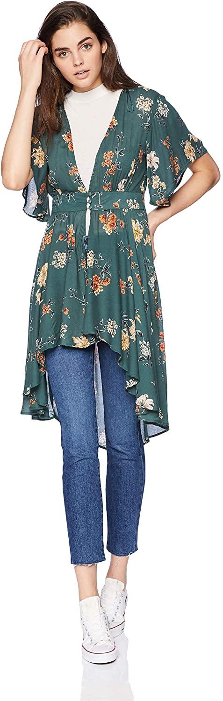 Angie Women's Button Front Long Flutter Kimono