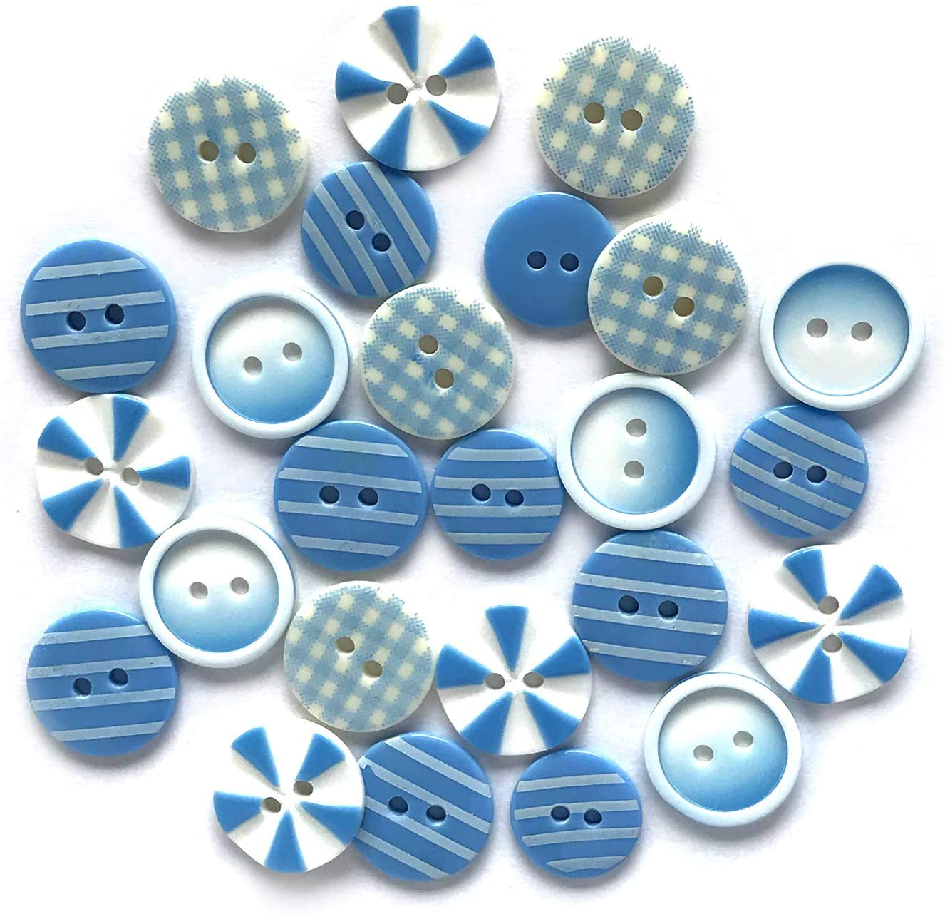 Buttons Galore Printed Craft & Sewing Buttons - Blues Medley - Set of 3 Packs Total 60 Buttons