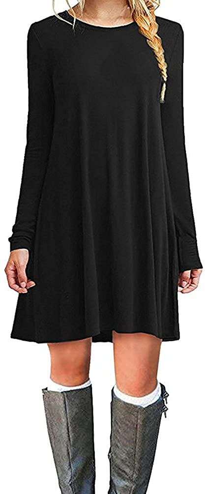 MOLERANI Womens Casual Plain Simple Long Sleeve T-Shirt Loose Dress