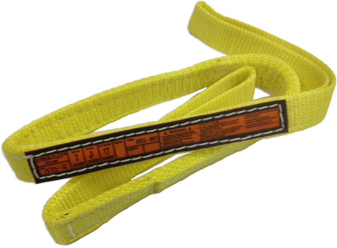 Stren-Flex EEF1-901-7 Type 3 Heavy Duty Nylon Flat Eye and Eye Web Sling, 1 Ply, 1600 lbs Vertical Load Capacity, 7 Length x 1 Width, Yellow
