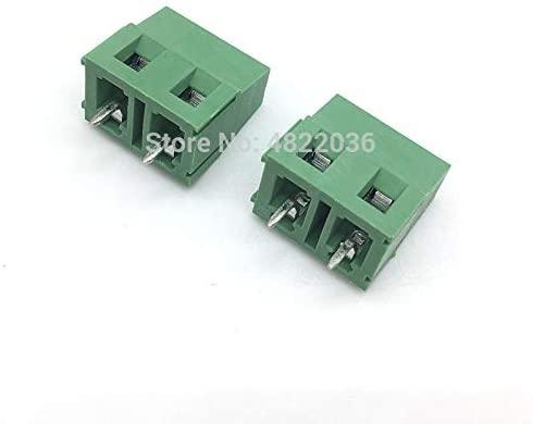Davitu Terminals - 100pcs KF128-7.5-2P Screw 2Pin 7.5mm Straight Pin PCB Screw Terminal Block Connector 300V/10A Green Color