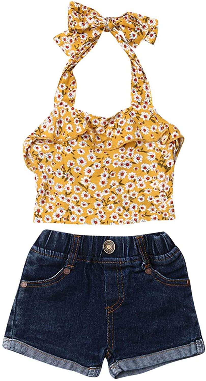 Toddler Girls Off Shoulder Ruffle Top Adjustable Strap Crop Top Halter Blouse Shirt Denim Jean Shorts Pants with Pockets