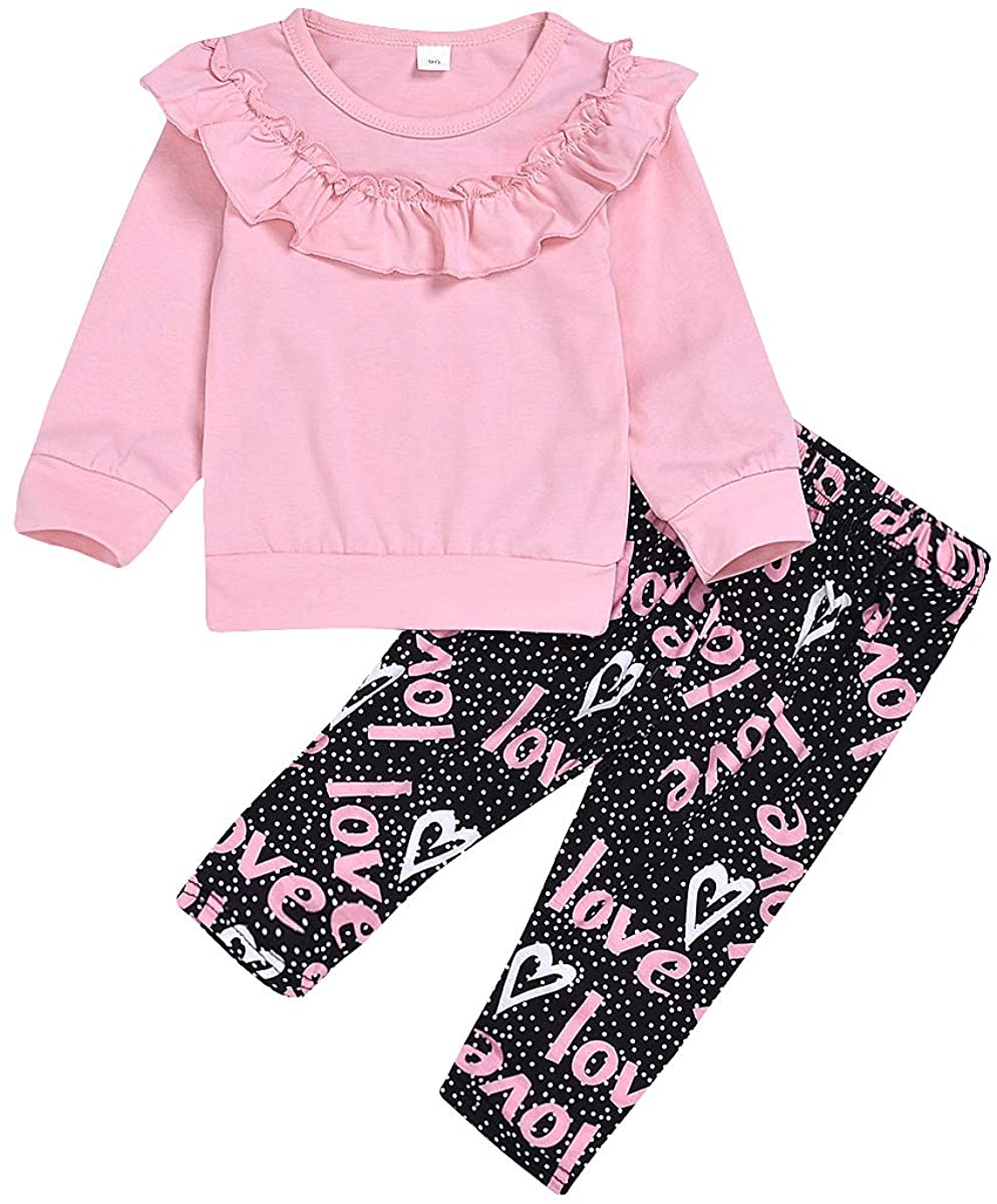 Toddler Baby Girls Pink Long Sleeve Ruffle Sweatshirt + Love Print Pants 2PCS Outfits Set