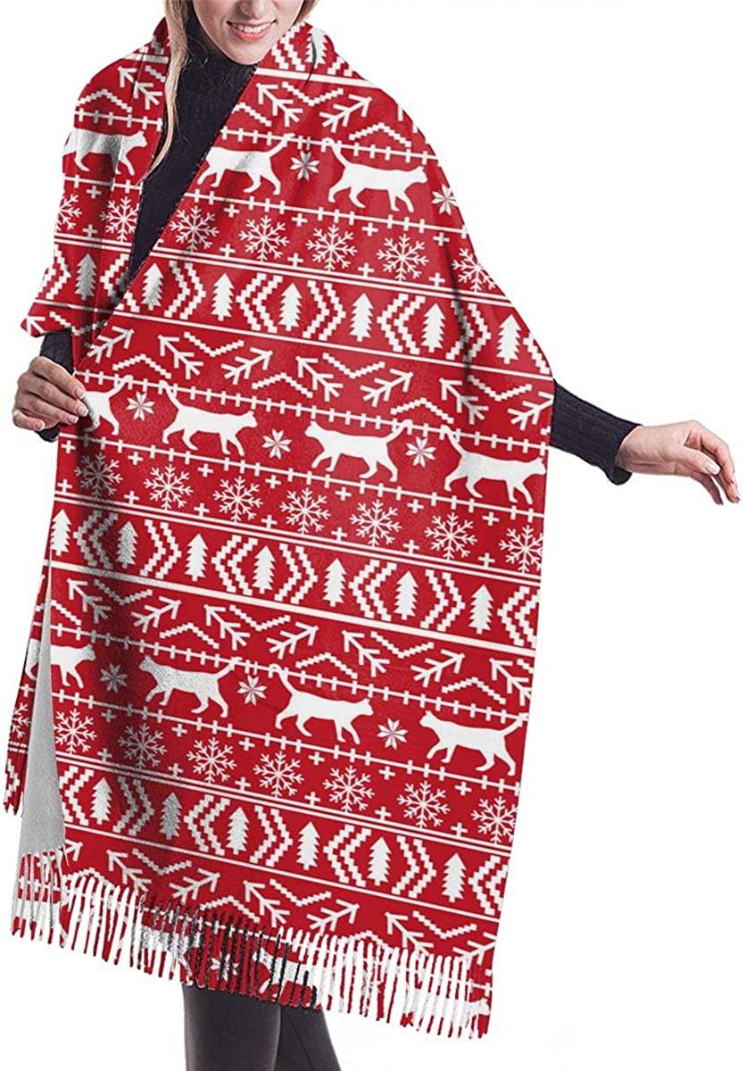 Christmas Cat Fair Isle Women's Winter Warm Scarf Fashion Long Large Soft Cashmere Shawl Wrap Scarves