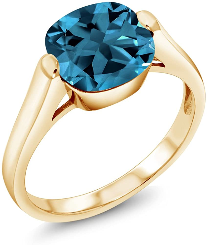 Gem Stone King 4.35 Ct Cushion London Blue Topaz 18K Yellow Gold Plated Silver Ring (Available 5,6,7,8,9)