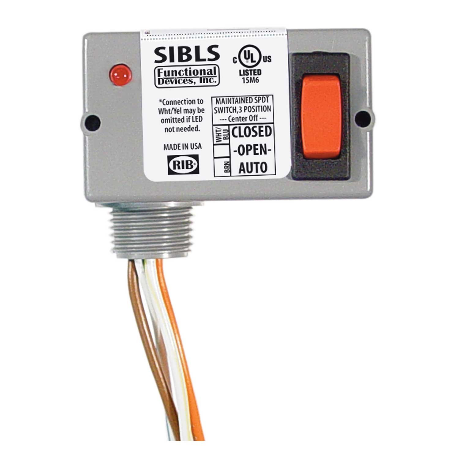 Functional Devices SIBLS Switch, 5 Amp, 30 Vac/dc, 3 Position Maintained, On/Off/On, LED Indicator, NEMA 1 Housing