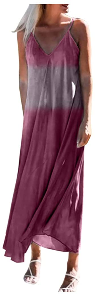 Adeliber Dirndl Dresses Women's Summer Fashion Suspender Gradient Long Dress