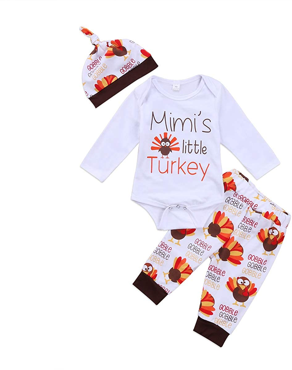 Chloefairy Baby Thanksgiving Bodysuit + Pants + Hat Infant Toddler 3Pcs Outfit Clothing Set for Girls Boys T-20372