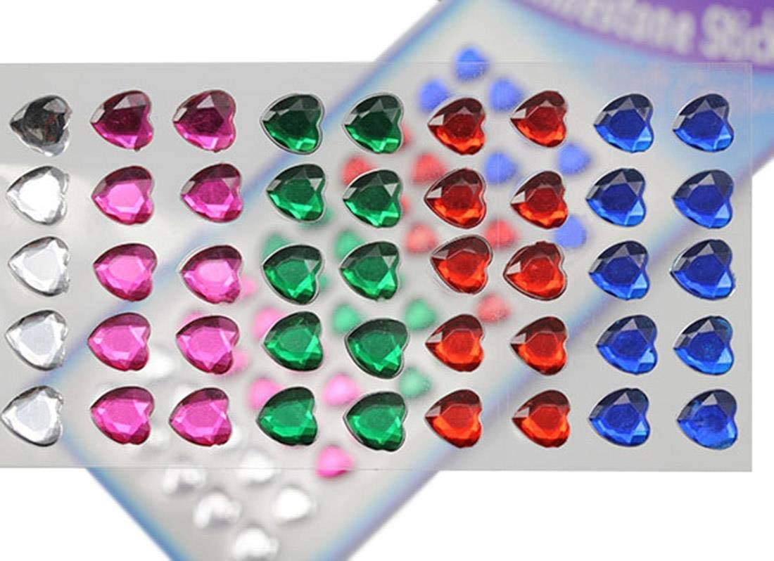 Self Adhesive Acrylic Rhinestones Plastic Face Gems Stick On Body Jewels for DIY Cards and Invitations Crafts Bling Sticker - 5 Sheets - 250PCS (8mm Assorted Colors Hearts)