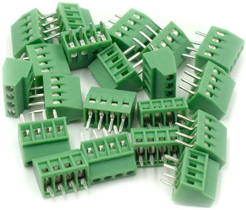 Hxchen 4-Pin 2.54mm Pitch 150V 6A PCB Mount Screw Terminal Block Connector - (20 Pcs)