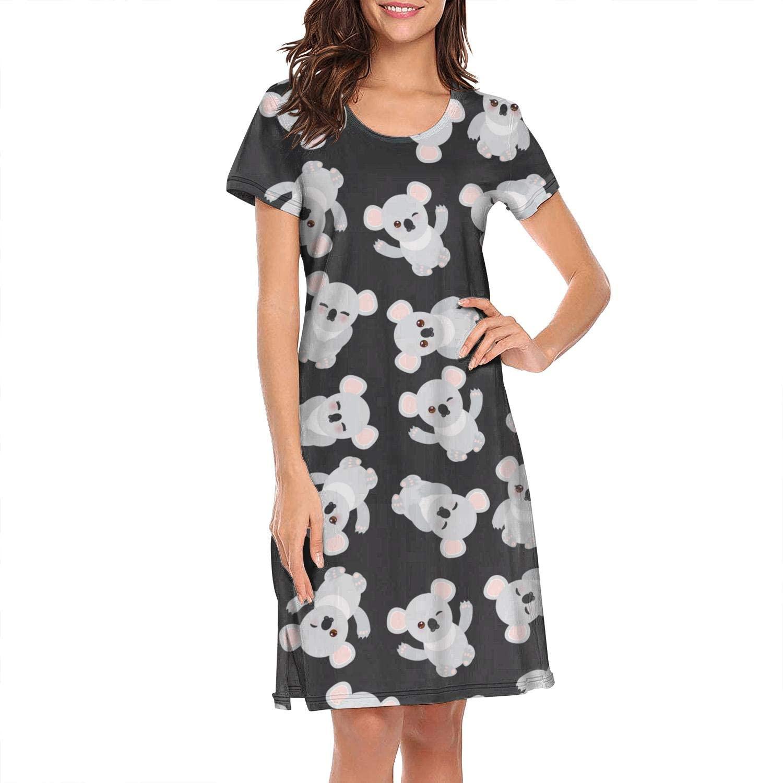 Womens Ladies Nightgown Love Koala Bear Stickers Breathable Classic Short Sleeve Sleepwear