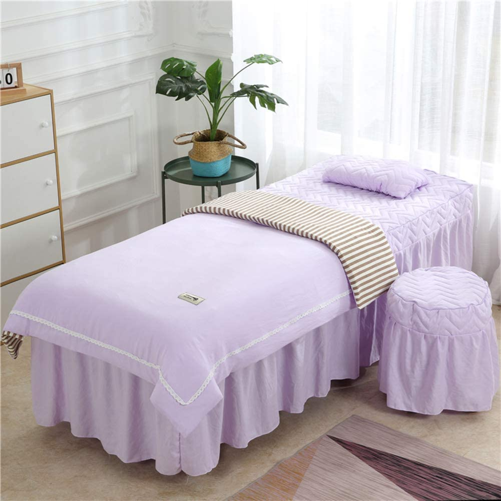 YXLHJ Cotton Beauty Bed Cover,4 Pieces Skin-Friendly Massage Table Sheet Sets Korean Summer Beauty Salon Bedspreads Bed Cover-i 190x70cm(75x28inch)