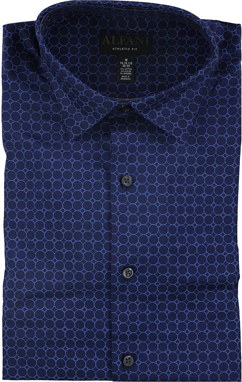 Alfani Mens Printed Athletic Fit Button-Down Shirt