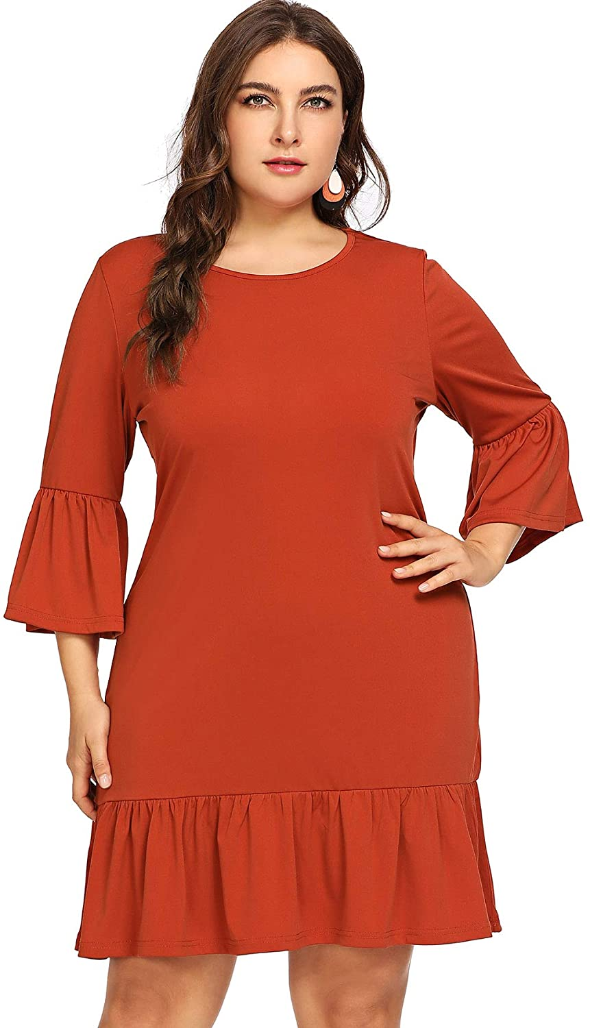 Milumia Women Plus Size Flared 3 4 Flared Ruffle Sleeves Fit Flare A Line Tunic Bodycon Dress Casual