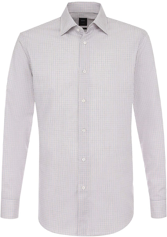 Hugo Boss Mens T-Stuart Regular Fit Multicolored Mini Checks Dress Shirt 17 35/36