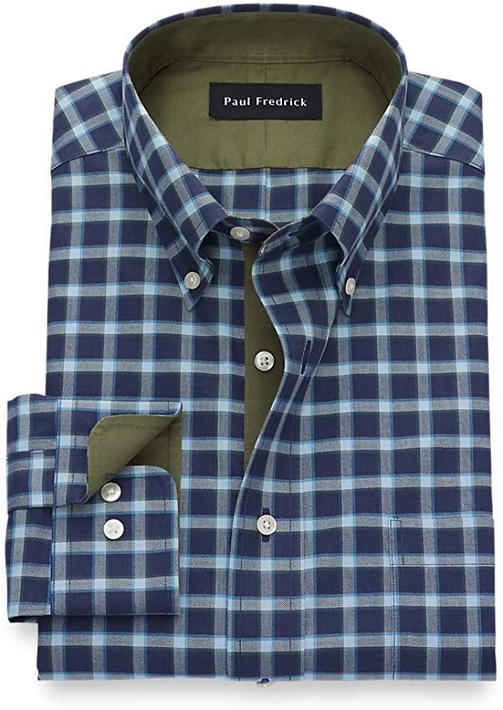 Paul Fredrick Men's C/f Non-Iron Cotton Windowpane, Button Down Collar, Button C