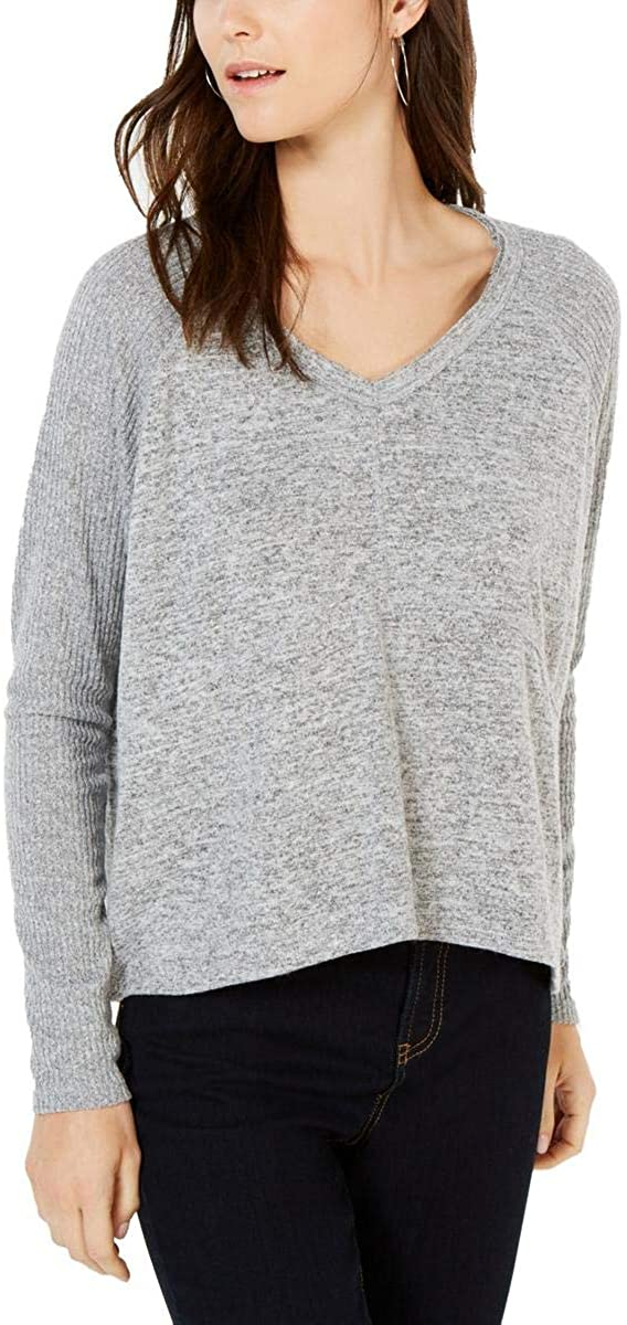 INC Womens Ribbed V-Neck Pullover Top