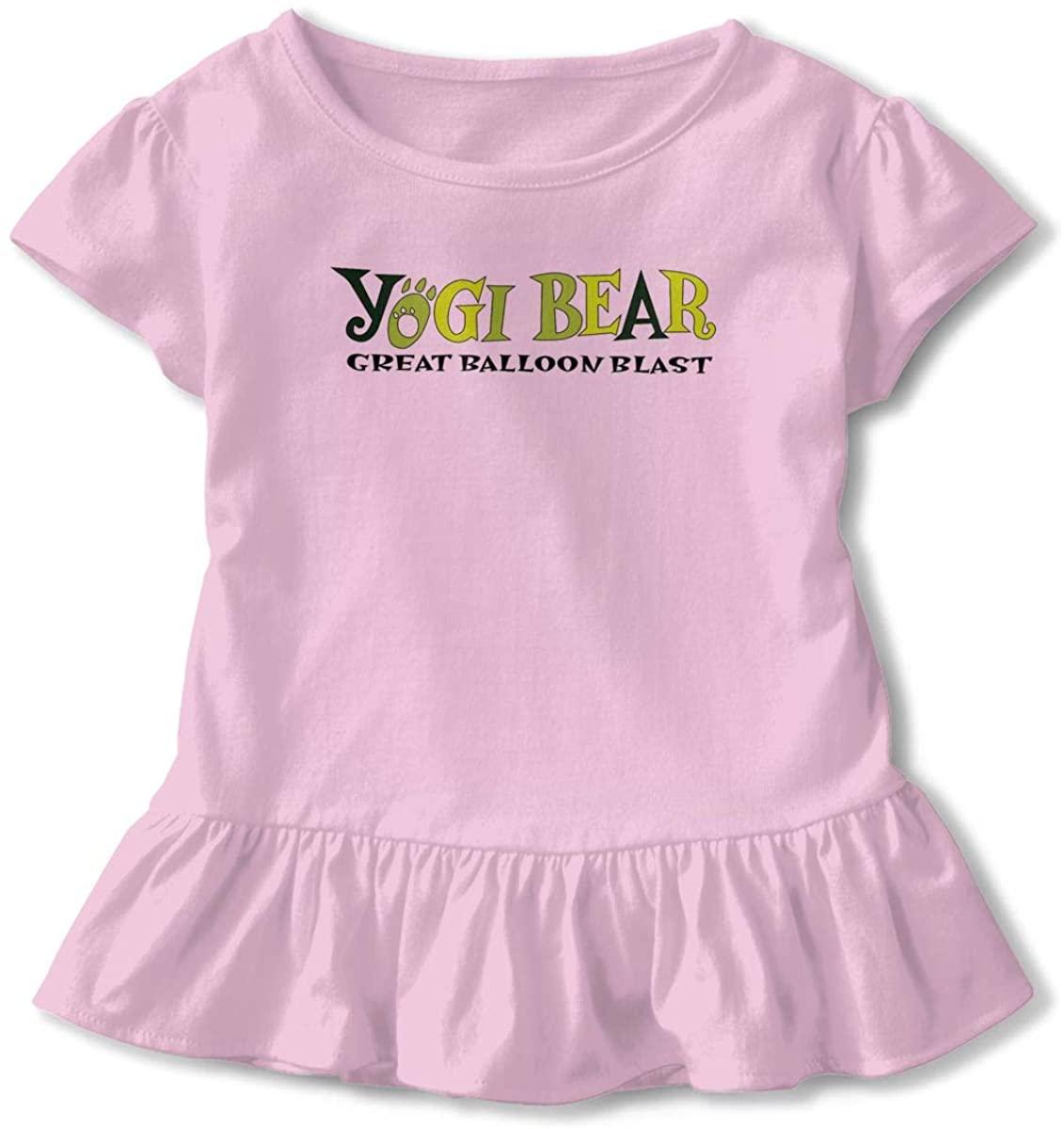 Yogi-Bear Animals 2-6 T Baby Girls' Short Sleeve with Hemmed Double Ruffle for Girl