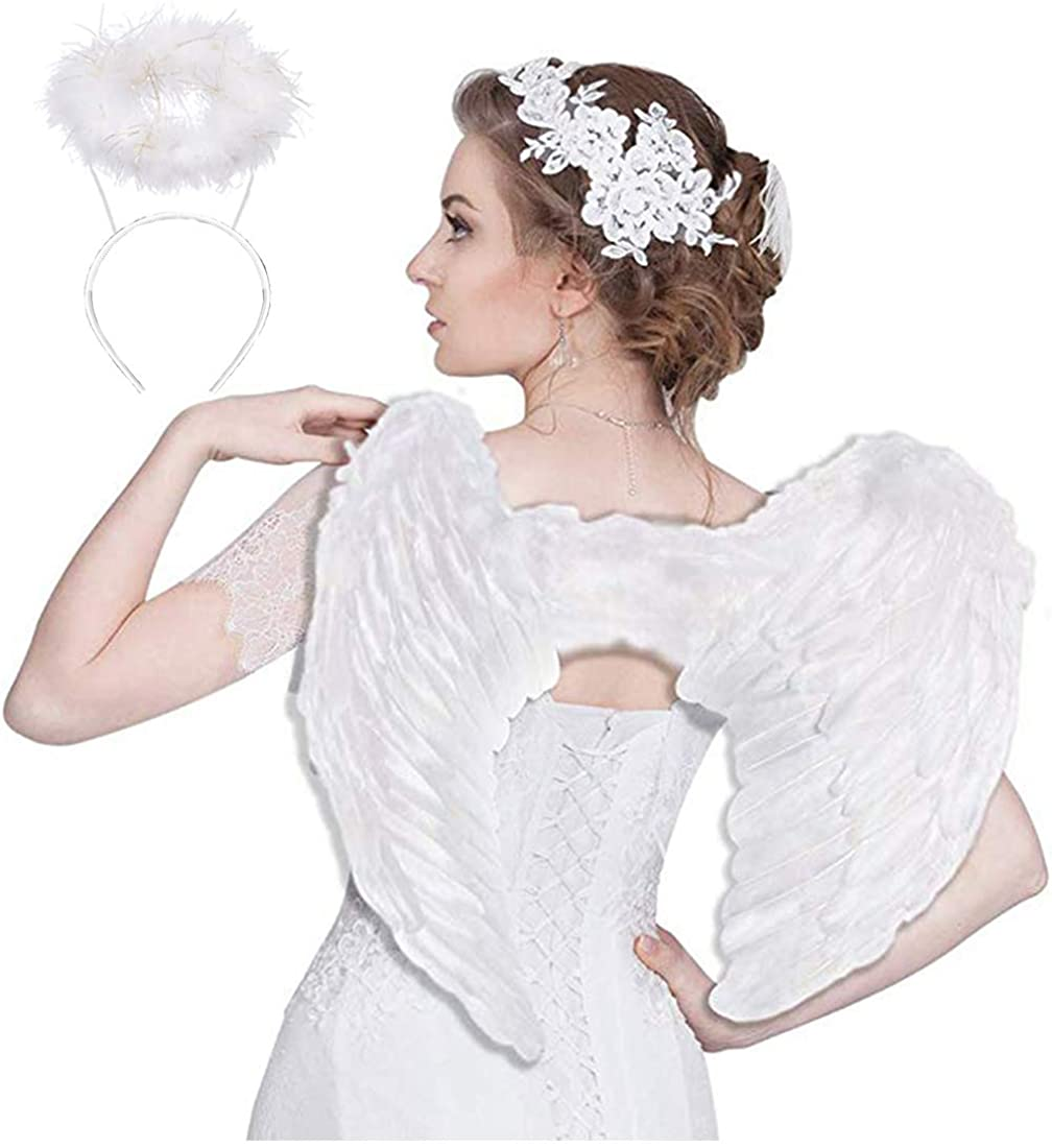 Angel Wings for Kids Adult Halo Headband White Feather Fairy Angel Costumes Party Fancy Cosplay for Women