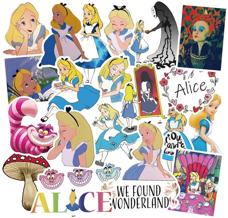 Cute Cartoon Stickers 50pcs Pack, Durable Waterproof Aesthetic Trendy Decals for Teen Girl, Waterproof Laptop Water Bottle Bike Skateboard Luggage Phone Helmet Stickers - Alice in Wonderland