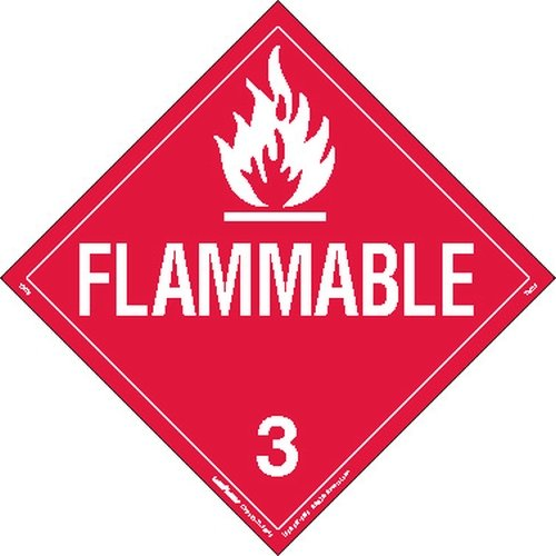 Labelmaster ZMG2 Flammable Liquid Hazmat Placard, Worded, Magnetic (Pack of 25)