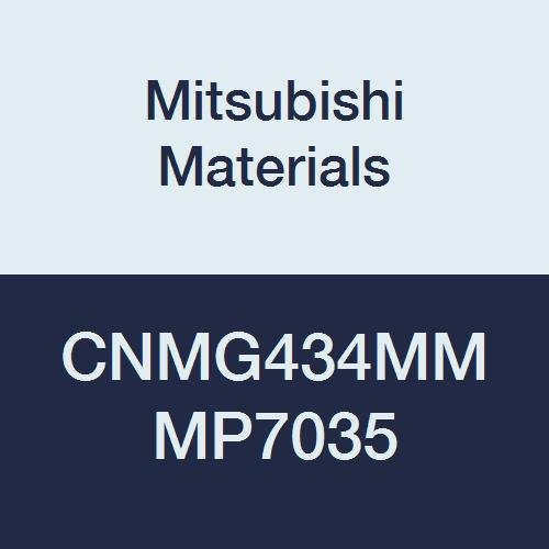 Mitsubishi Materials CNMG434MM MP7035 Carbide CN Type Negative Turning Insert with Hole, Coated, Rhombic 80°, Grade MP7035, 0.5