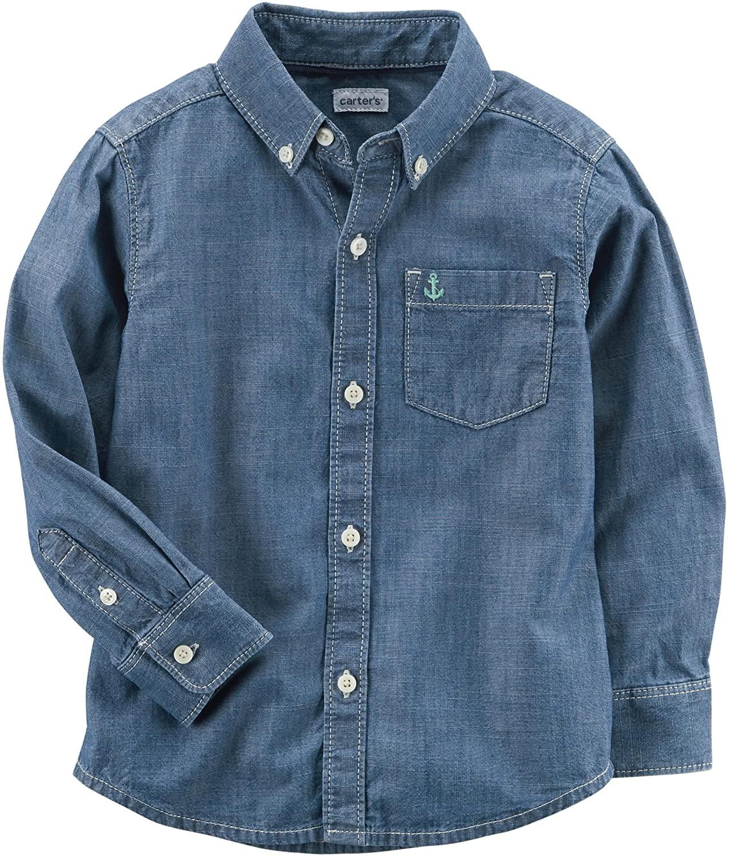 carter's Blue Boy's Long Sleeve Chambray Button-Front Shirt (3M)