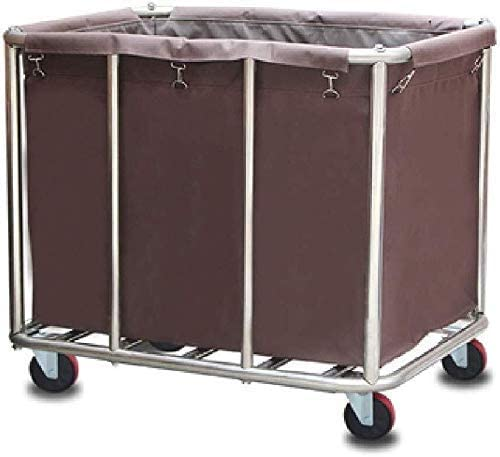 BDD Carts,Laundry Sorter Cart, Stainless Steel Commercial Laundry Hamper Linen Car with Removable Bags,Brown