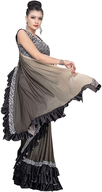 Indian Saree for Women Ethnic Sari Grey Lycra Sari with Unstitched Blouse. ICW2711-1