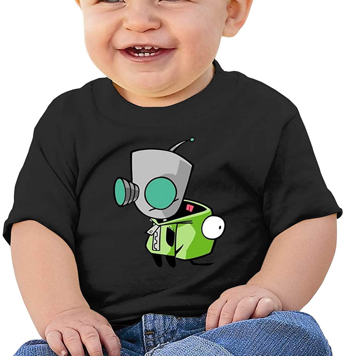 6-24 Months Boy and Girl Baby Short Sleeve T-Shirt Invader Zim Gir Doom Logo Original Minimalist Style Black