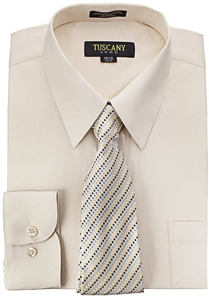 Men's Dress Shirt With Mystery Tie Set - TAN,14.5'' NECK 34-35'' SLEEVE