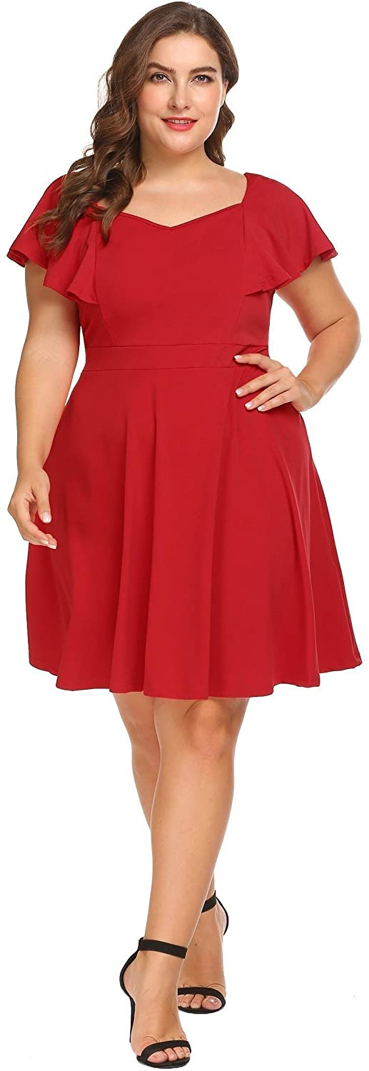 IN'VOLAND Women's Plus Size Official Retro Ruffles Cap Sleeve Formal Pleated Skater Dress