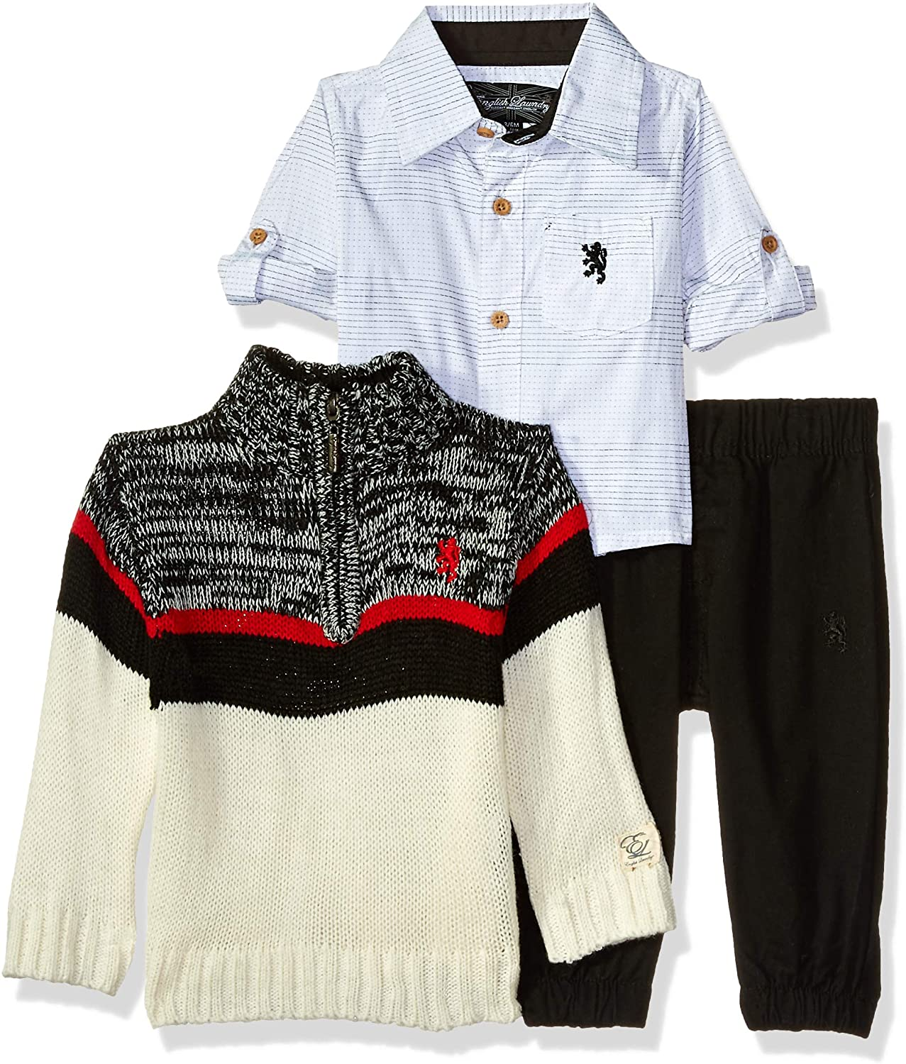 English Laundry Baby Boys Long Sleeve Woven, Pullover Sweater, and Fleece Jogger Set