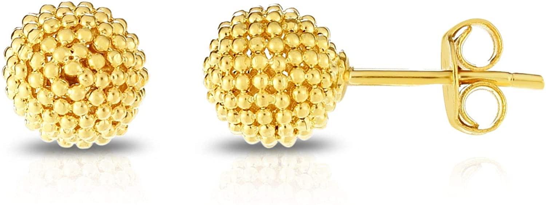 14K Yellow Gold Finish Polished Earrings, Push Back Clasp